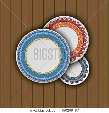 Set Of Decorative Plates With A Ethnic Tribal Ornament Of Handwork And An Empty Space In The Center.