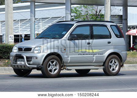 CHIANGMAI THAILAND -FEBRUARY 29 2016: Private Proton Perodua Kembara. Mini Suv Car for Urbun User. On road no.1001 8 km from Chiangmai city.