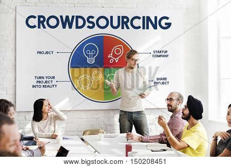 Crowdsourcing Business Team Collaboration Concept