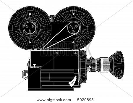 Retro Revival Old Movies Illustration Camera Vector