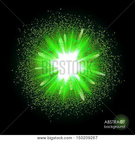 Explosion of supernova. Bright green cosmic or magic background. Glowing space. Bundle of energy. Cloud of dust and light on black background. Magical potion. Halloween. Abstract vector illustration.