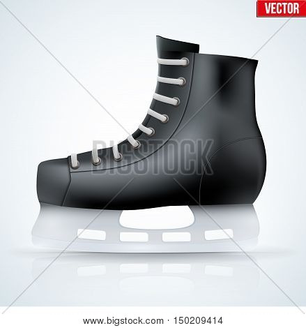 Black classic ice hockey skates. Sport equipment. Side view. Vector Illustration isolated on white background.