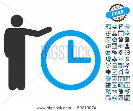 Time Show pictograph with bonus calendar and time management clip art. Vector illustration style is flat iconic bicolor symbols, blue and gray colors, white background.