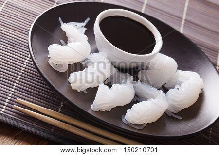 Shirataki Noodles And Soy Sauce Closeup On The Table. Horizontal