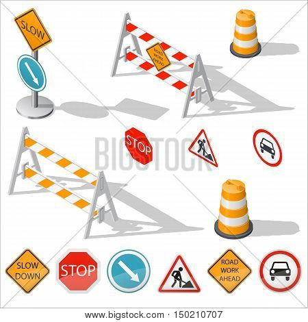 Road barriers and signs isometric detailed icon set vector graphic illustration design