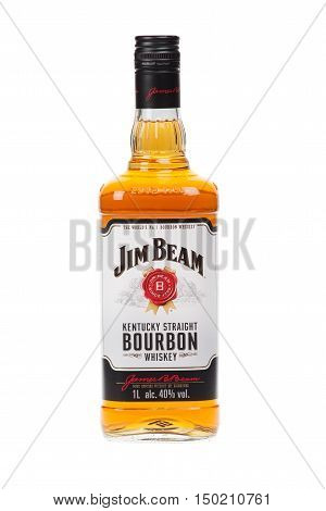 VARNA BULGARIA - AUGUST 17.2016: Photo of a bottle of Jim Beam Bourbon isolated on white. Jim Beam is an American brand of bourbon whiskey produced in Clermont Kentucky.