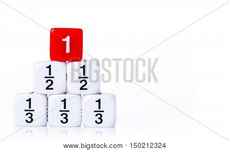 Stacked white fraction dices and number one red dice on white background with copy space