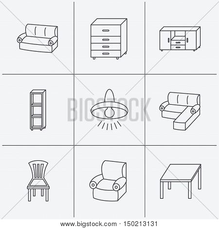 Corner sofa, table and armchair icons. Chair, ceiling lamp and chest of drawers linear signs. Shelving, furniture flat line icons. Linear icons on white background. Vector