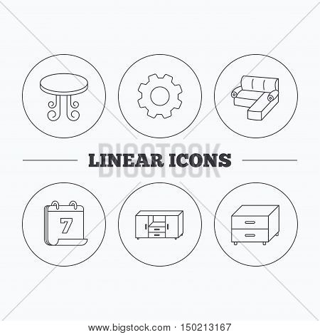 Corner sofa, table and nightstand icons. Chest of drawers linear sign. Flat cogwheel and calendar symbols. Linear icons in circle buttons. Vector