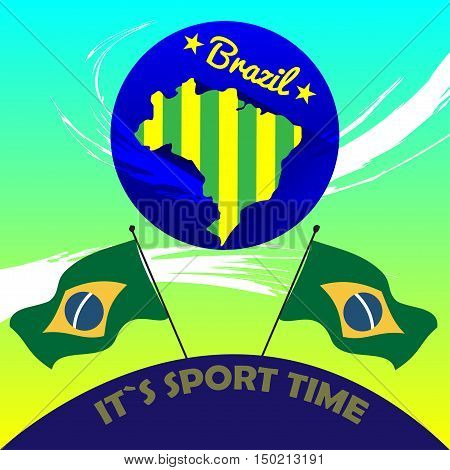 Digital vector brasil it is sport time, country flag, flat style