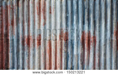 The Gate Zinc Metal Sheet Or On Construction Sites. Rust Galvanized Fence