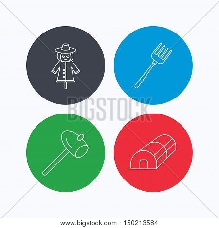 Hammer, hothouse and scarecrow icons. Pitchfork linear sign. Linear icons on colored buttons. Flat web symbols. Vector