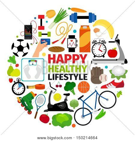 Healthy lifestyle emblem. Fitness promenade and food diet icons vector round label