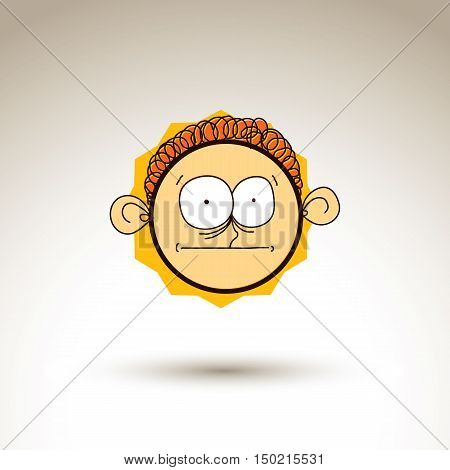 Vector Colorful Hand Drawn Illustration Of Curious Cartoon Boy Isolated On White Background, Simple