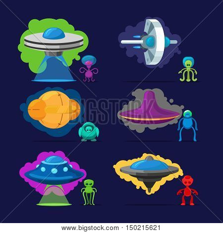 Aliens vector characters. Space invaders monsters with UFO illustration set