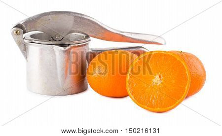 Juice extractor manual and oranges isolate
