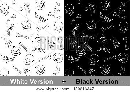 Halloween backgrounds-patterns with a skull bones hand with claws bat and scary pumpkin with eye sockets for traditional holiday; Both patterns are included in the Swatch Panel; Vector Eps8
