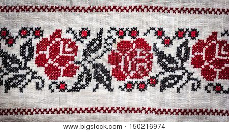 Traditional Belorussian national pattern embroidered on the tablecloth. Part tablecloth