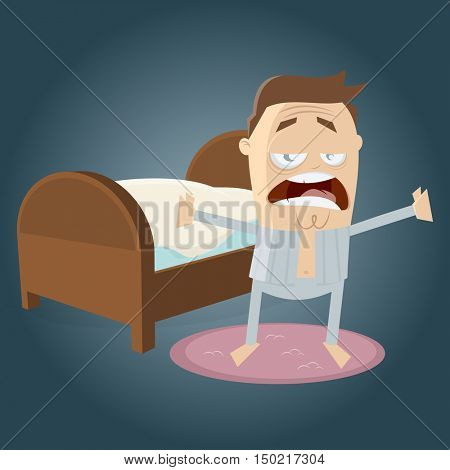 clipart of a tired man going to bed