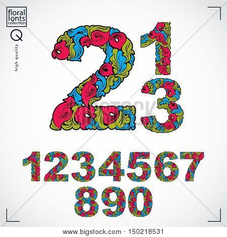 Set Of Beautiful Numbers Decorated With Herbal Ornament. Colorful Vector Numeration Made In Floral S
