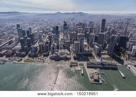 Afternoon aerial view of the downtown waterfront in San Francisco, California.