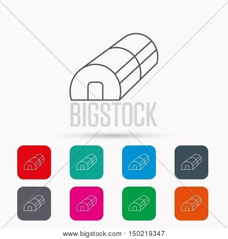 Greenhouse complex icon. Hothouse building sign. Warm house symbol. Linear icons in squares on white background. Flat web symbols. Vector