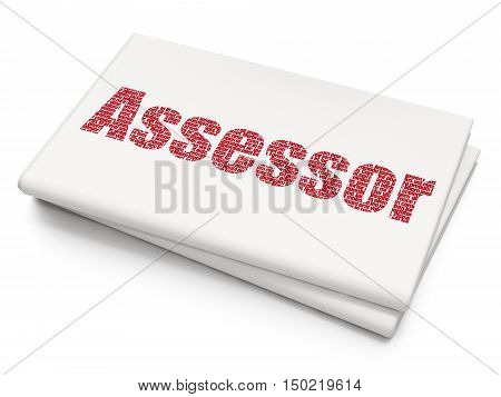 Insurance concept: Pixelated red text Assessor on Blank Newspaper background, 3D rendering