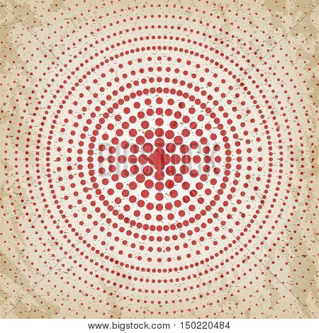 Abstract background of red dots. Evenly decrease size of circles. Comics style. Vector illustration.