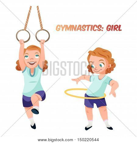 Little kid girl doing exercises in gymnastics with rings and hoop. Isolated female child in funny cartoon style. Children sport illustration.
