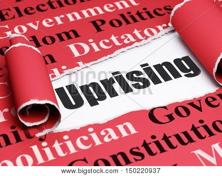 Political concept: black text Uprising under the curled piece of Red torn paper with  Tag Cloud, 3D rendering