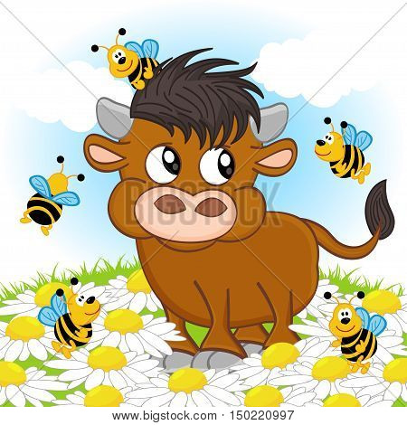 bull and bee - vector illustration, eps