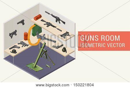 Isometric vector guns room with beretta handguns, m4a1 assault rifle, minigun, mp5 submachine gun, dynamite, grenades, mortar grenade launcher. Room with rack and weapons.