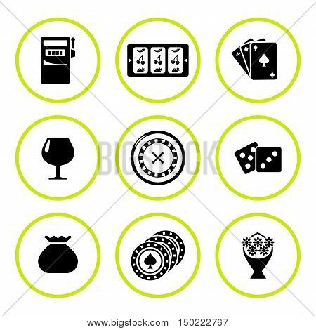 Set round icons of casino isolated on white. Vector illustration
