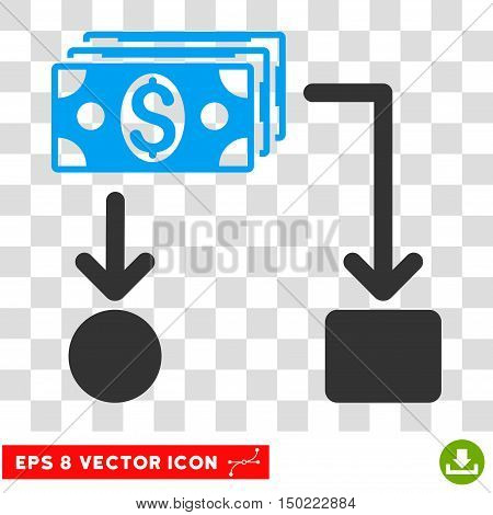 Cashflow vector icon. Image style is a flat blue and gray pictograph symbol.