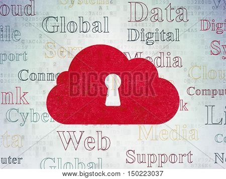 Cloud computing concept: Painted red Cloud With Keyhole icon on Digital Data Paper background with  Tag Cloud