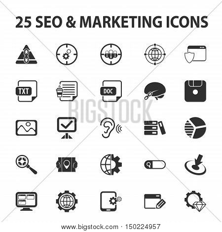SEO, promotion, marketing, marketer 25 black simple icons set for web design