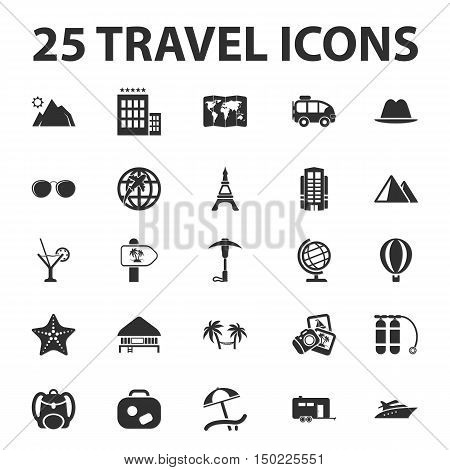 Travel, vacation 25 black simple icons set for web design