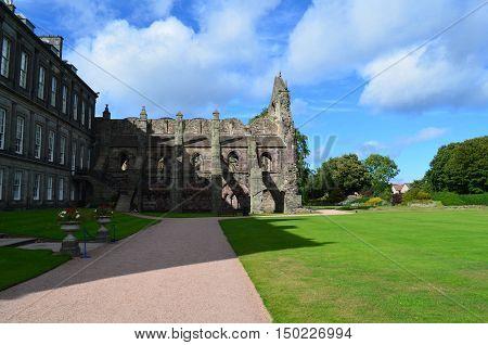 Holyrood Abbey adjacent to Holyrood Abbey in Edinburgh Scotland.