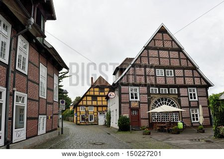 RIETBERG GERMANY - SEPTEMBER 05: Historical town center of Rietberg on September 05 2015. Rietberg is a town in the district of Gutersloh in the state of North Rhine-Westphalia Germany