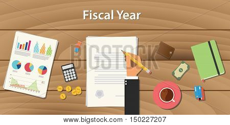 fiscal year concept illustration with business man working on some paper document with graph chart money on wooden table vector
