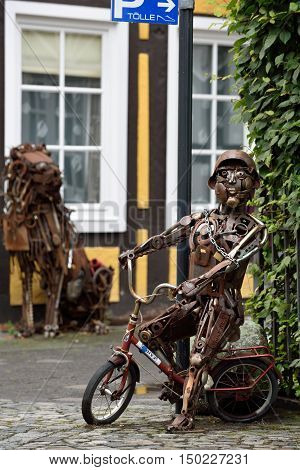 RIETBERG GERMANY - SEPTEMBER 05: Sculptures made of metal on September 05 2015. Rietberg is a town in the district of Gutersloh in the state of North Rhine-Westphalia Germany