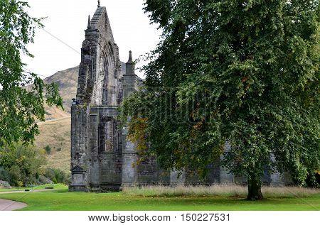 Holyrood Abbey ruins found in Holyrood Park in Edinburgh Scotland.