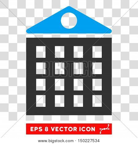 Multi-Storey House vector icon. Image style is a flat blue and gray icon symbol.
