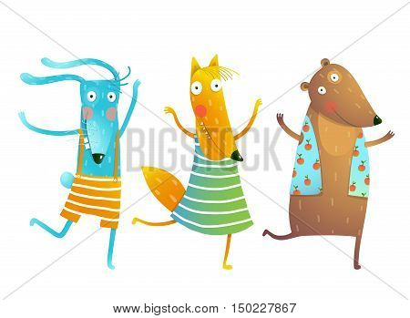 Childish cartoon for children dancing or playing game animals cub in dress, shirts, clothes. Bunny, fox, bear friends Vector cartoon illustration.