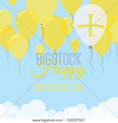 Guernsey Independence Day Flat Greeting Card. Flying Rubber Balloons In Colors Of The Channel Island