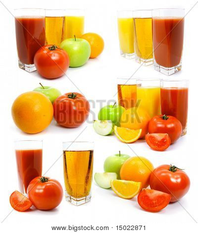 Fresh fruits vegetables and juice in glass isolated on the white background