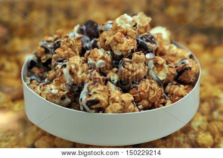popcorn snack closeup macro in the bowl