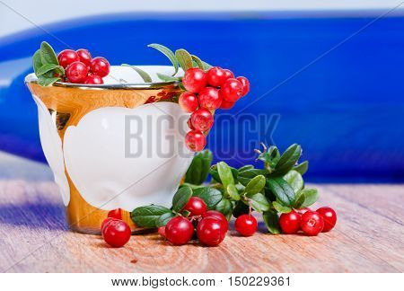 stylish coffee cup and red lingonberries on blurry blue bottle background