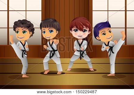 A vector illustration of Kids Practicing Martial Arts in the Dojo