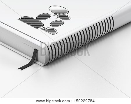 Finance concept: closed book with Black Business Meeting icon on floor, white background, 3D rendering